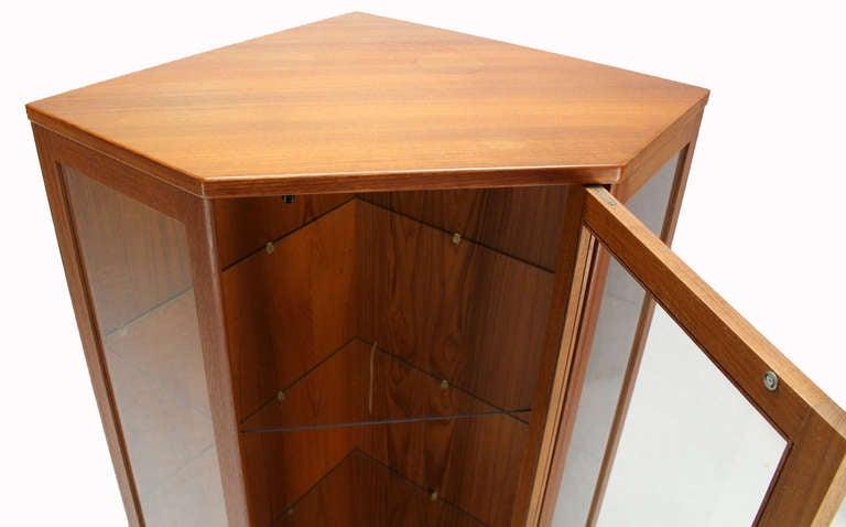 Danish Mid Century Modern Teak Corner Cabinet Cupboard At