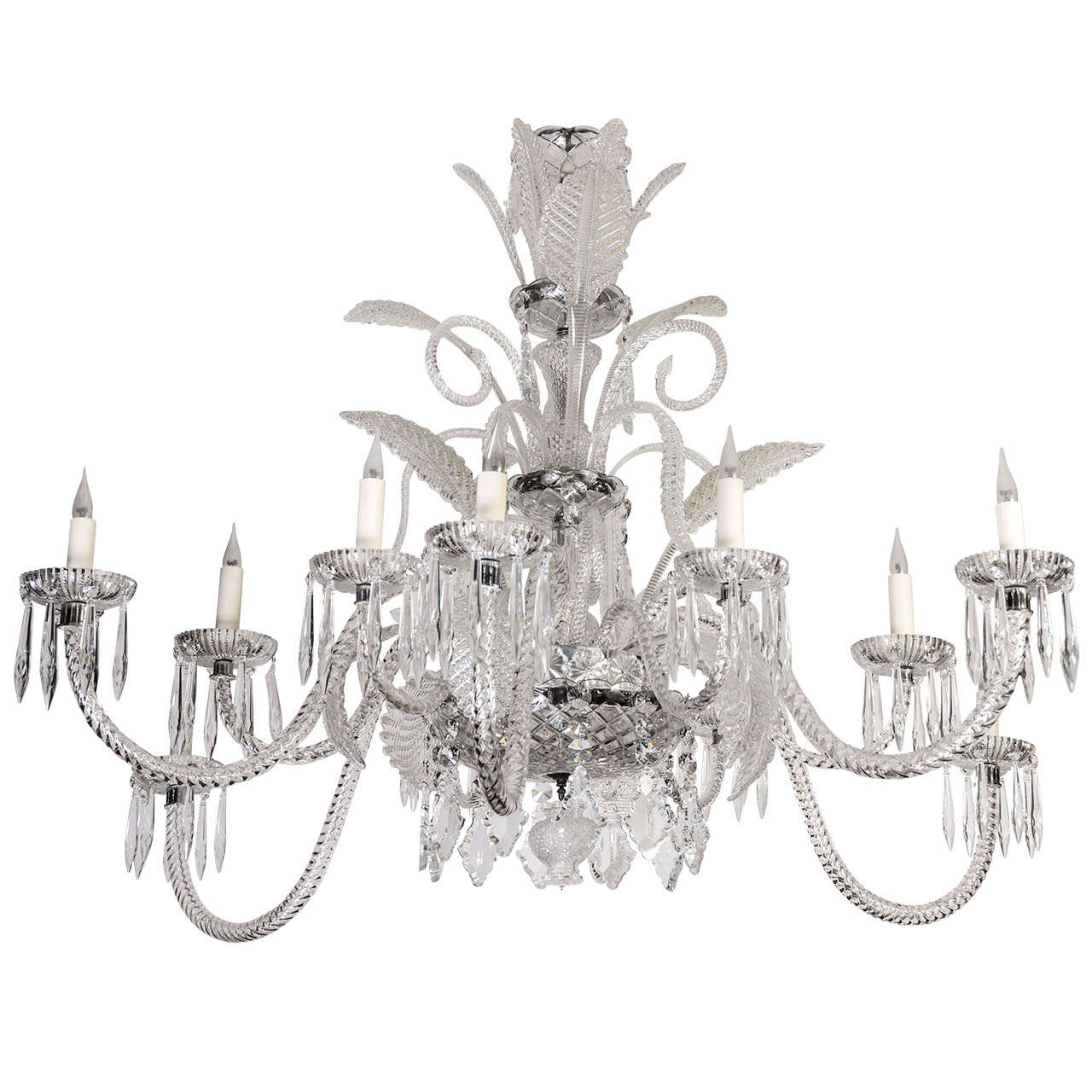 Spectacular Crystal And Murano Glass Chandelier At 1stdibs