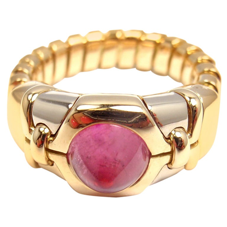 Bulgari Tubogas Pink Tourmaline Yellow Gold Ring