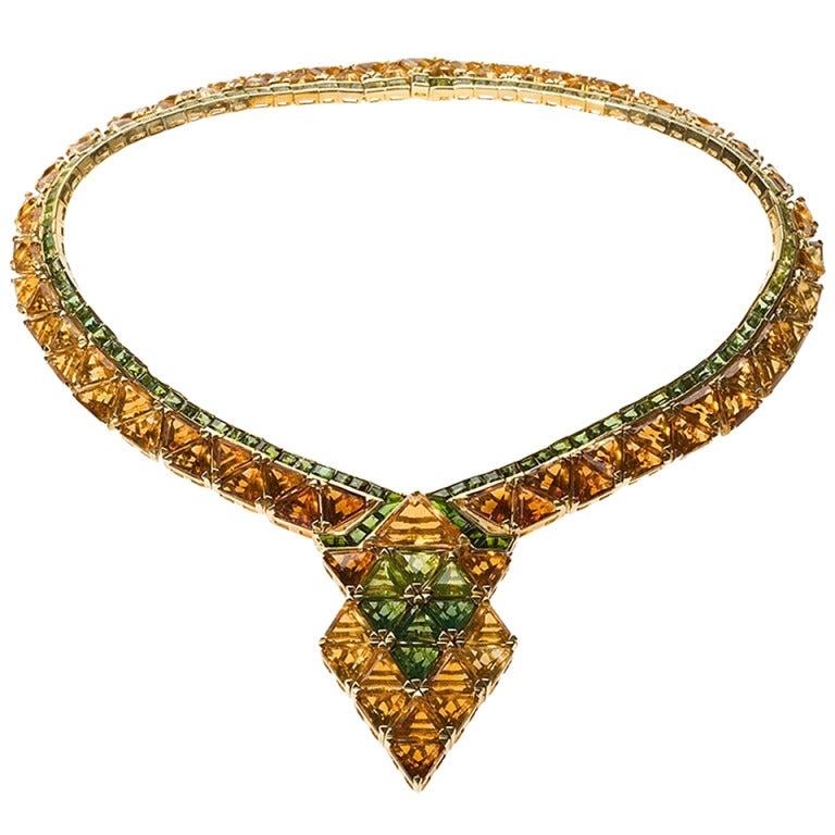 Marina B. Citrine, Tourmaline and Gold Necklace