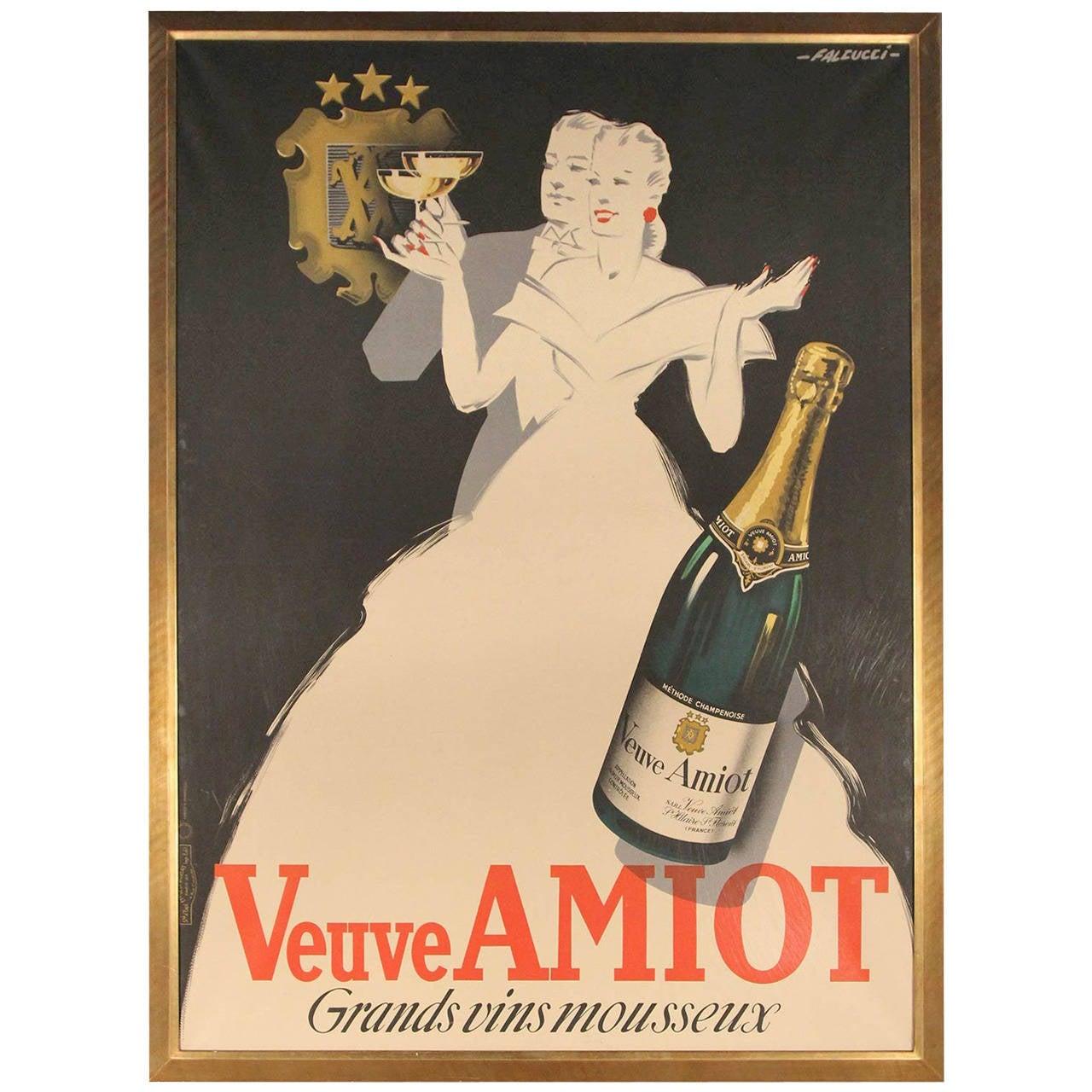 Veuve Amiot Champagne French Poster Framed At 1stdibs