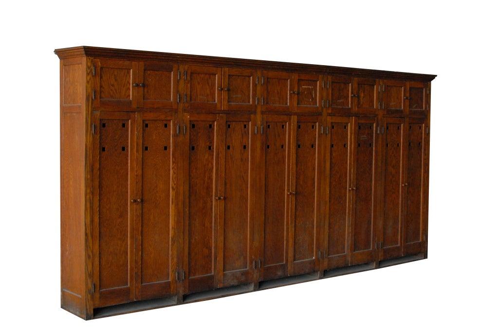 1900s American School Wooden Storage Locker Unit At 1stdibs