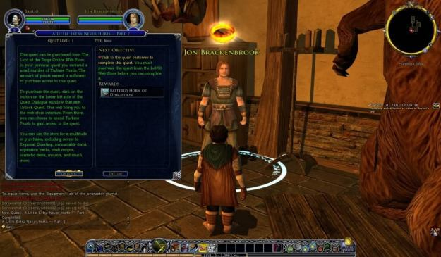 Quest instructing on how to buy an item from the LotRO store