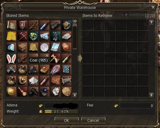 My warehouse in Lineage 2 also had a lot of junk