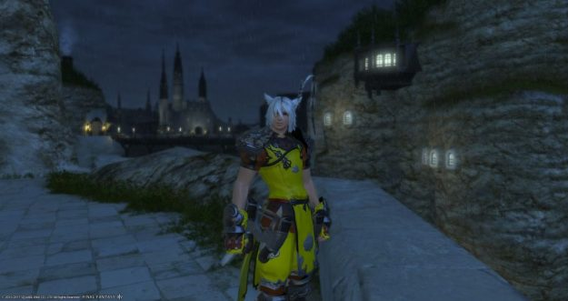 Rakuno in Limsa Lominsa during the night