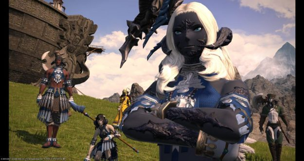 Sadu crossing her arms looking at the battlefield