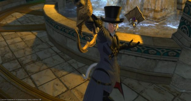 Rakuno posing as level 60 Red Mage in front of a fountain