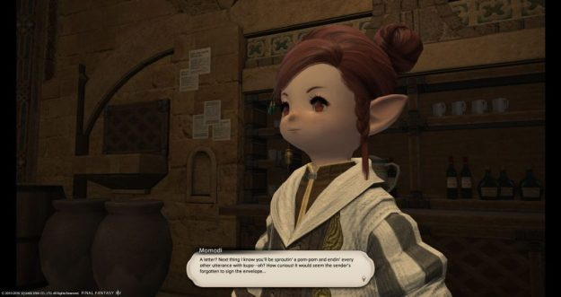 Momodi commenting on the oddity of a non-moogle delivering letters