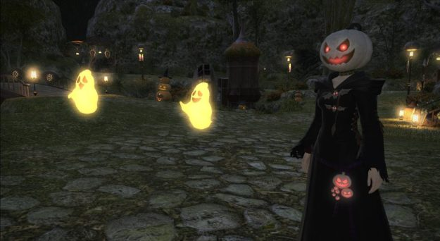 A woman with a pumpkin-head and two ghosts.