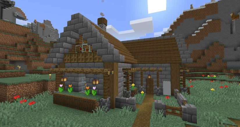 A stone house built in Minecraft
