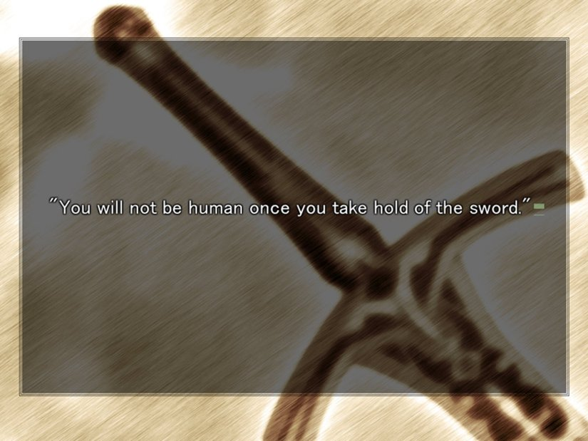 Merlin telling Saber that if she got hold of the sword she would stop being human.