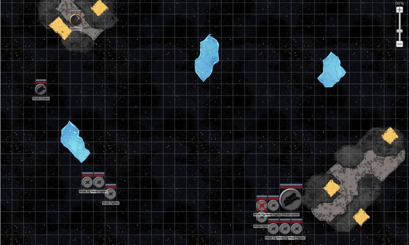 A battlemap showing the plankton against several pirate ships.