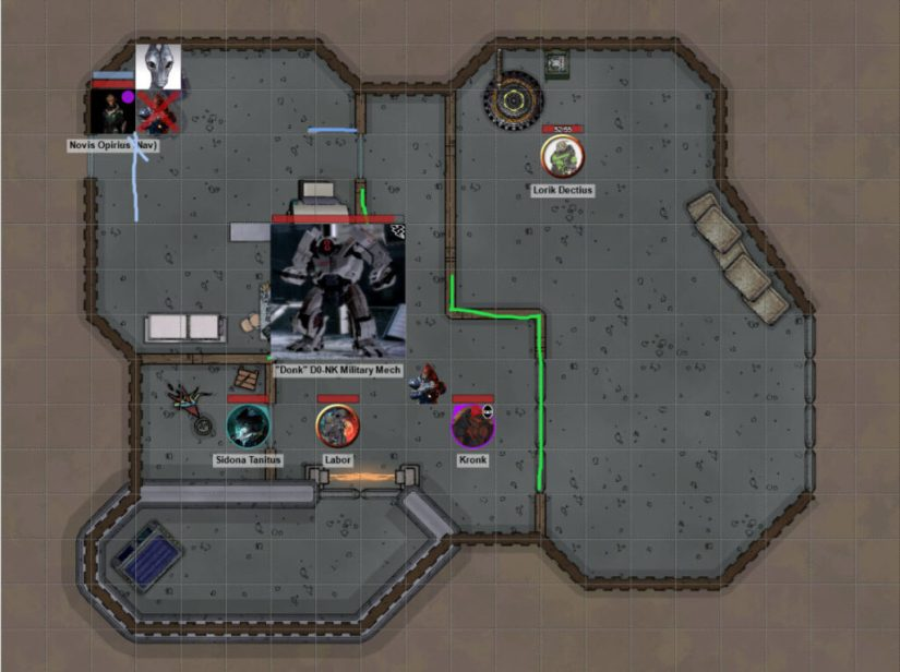 The map of a sort of makeshift clinic with the party investigating different spots, a dead krogan, a salarian scientist, a deactivated robot in the middle and a grumpy krogan mercenary.