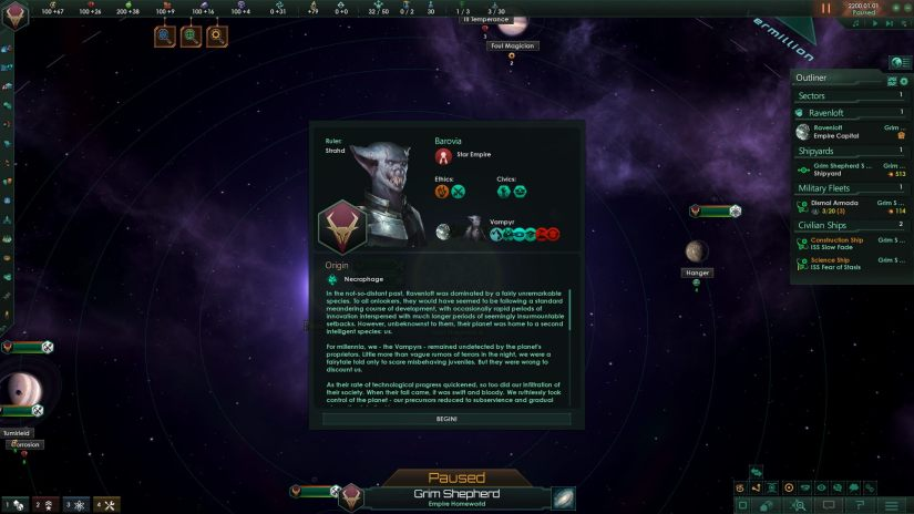 A fluffy history of one of the necroid races I was playing. Also, I named the ruler Strahd and the empire Barovia...