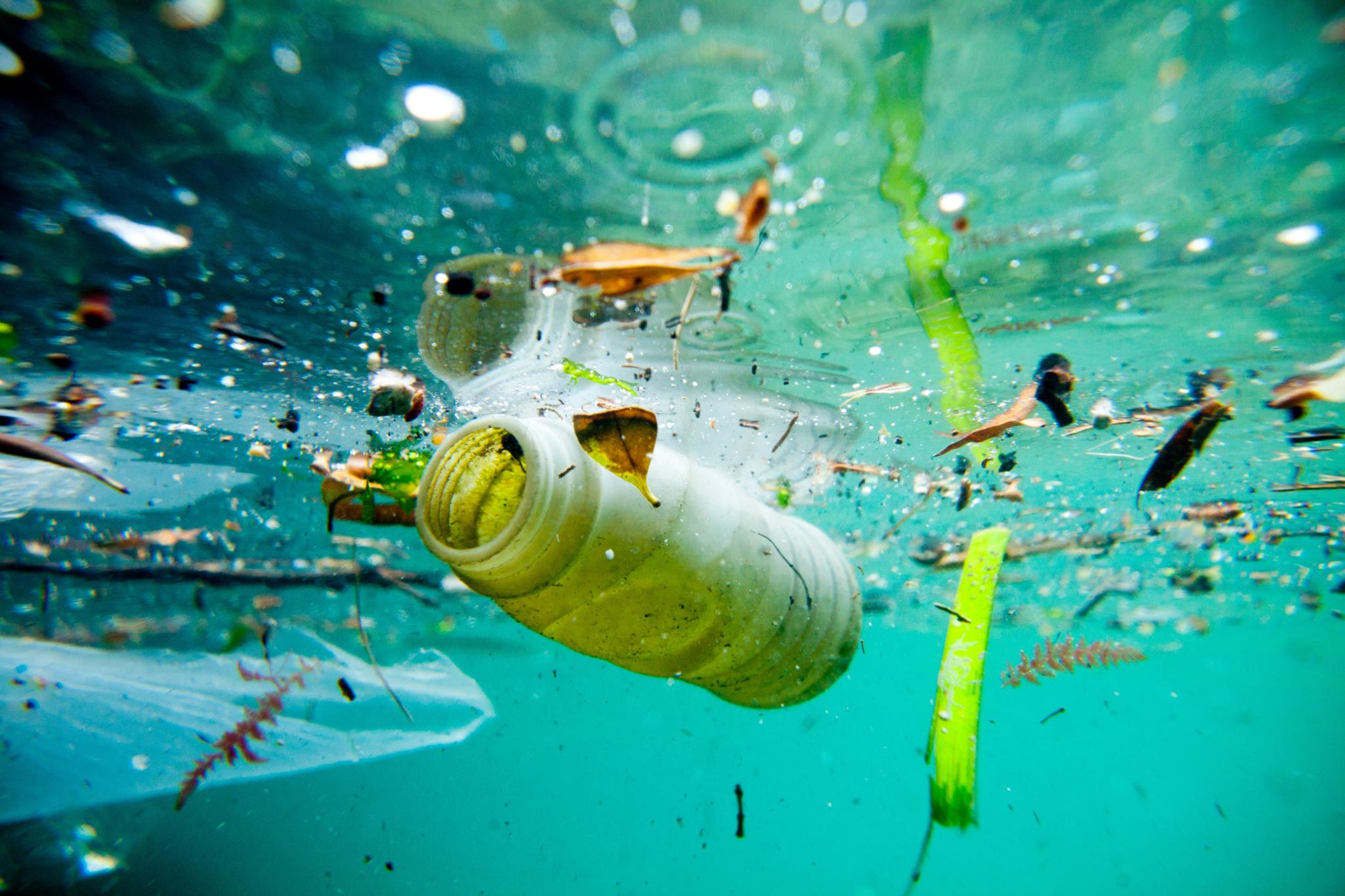 Bouteille en plastique flottant dans la mer (© Aurora Photos/Alamy Stock Photo)