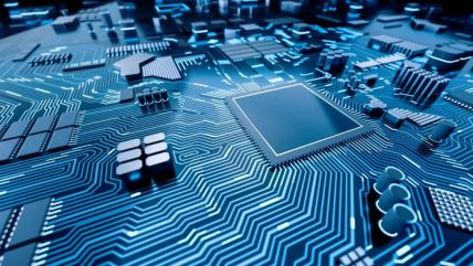 Artist's rendition of computer processor chip on circuit board (©Shutterstock)