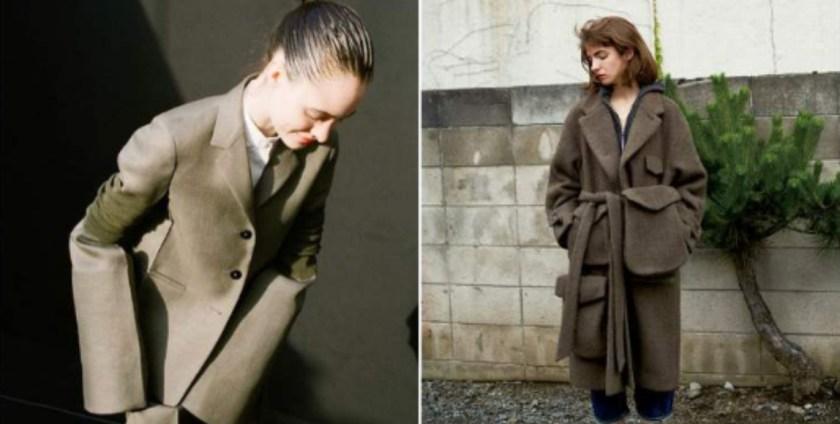 可以試著找找寬版一點的上衣,或是落肩設計的外套,他會讓妳整體線條看起來較為柔和