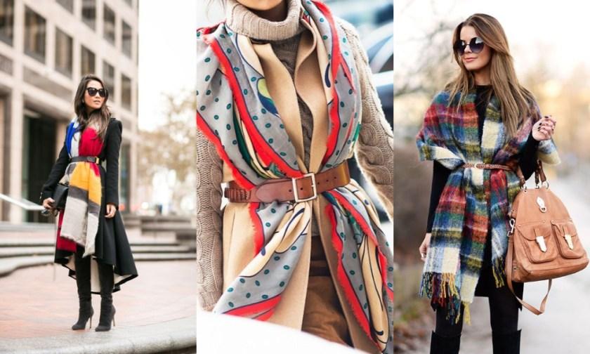 先要先找到一條長度足夠的圍巾,接著直接將兩側來到前面,再用皮帶繫住,就好像穿了一件層次感十足的衣服一樣。