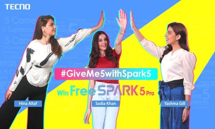 TECNO's new TikTok Challenge # GiveMe5WithSpark5 celebrities are revealed!