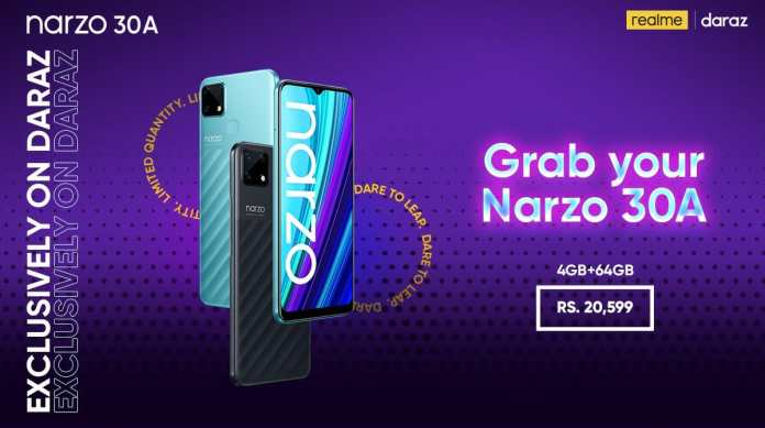 Realme launches the Gaming Beast Narzo 30A with MediaTek Helio G85 processor and 6000mAh Battery which supports Reverse Charging in Pakistan