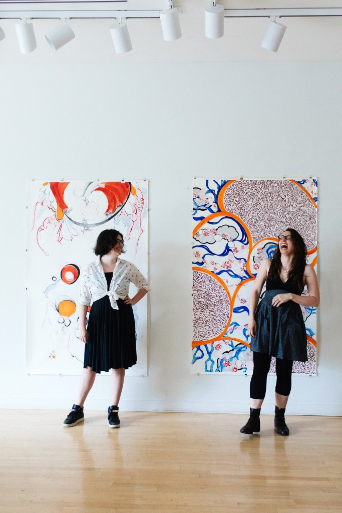 Artists in front of Follicular Solar Flares and Cosmic Tissue