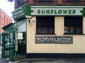 No topless bathing. Integrated Education Alumni Association (IEAA) launch event, Belfast branch, Sunflower Bar, Belfast, Northern Ireland. @IntEdAlumni