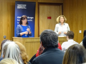 Professor Lesley McARA and Siobhan McALISTER. Lecture: Youth Justice and Conflict Transformation, School of Law, Queens University Belfast, Northern Ireland. (c) Sophie AUMAILLEY @QUBMitchell @IncludeYouth @NIChildCom @ShriekingGreek @LesleyMcAra1 #YJNI