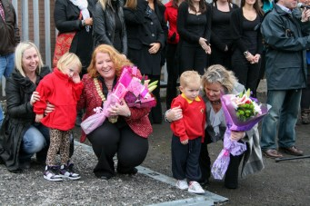 Councillor Naomi LONG MLA (Lord Mayor of Belfast) receives flowers (c) Allan LEONARD @MrUlster