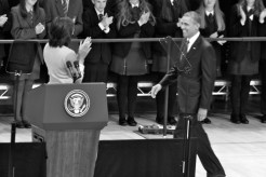 US First Lady Michelle OBAMA greets husband US President Barack OBAMA (c) Allan LEONARD @MrUlster