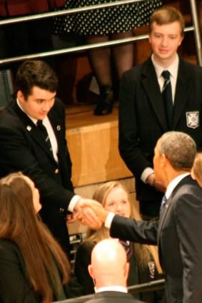 US President Barack OBAMA shakes hand with school boy (c) Allan LEONARD @MrUlster