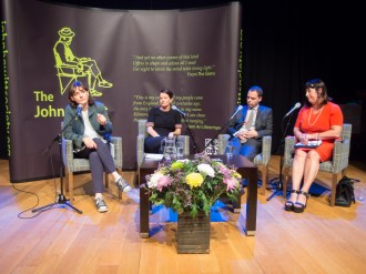 Paula McFETRIDGE (Kabosh Theatre), Marguerite NUGENT (Wolverhampton Art Gallery), Oliver SEARS (Oliver Sears Gallery), and Katy RADFORD (Institute for Conflict Research) (c) Allan LEONARD @MrUlster