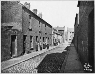 Little York Street Area: Little Henry Street looking towards Henry Street No.s 20 to 29 on plan. Streets in photo: Little York Street, Henry Street, Little Henry Street. PRONI Ref: LA/7/8/HF/3/8