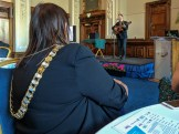 Lord Mayor listens to musician Ciaran LAVERY. (c) Allan LEONARD @MrUlster