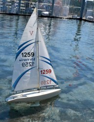 Sailed remote-controlled sailboats.