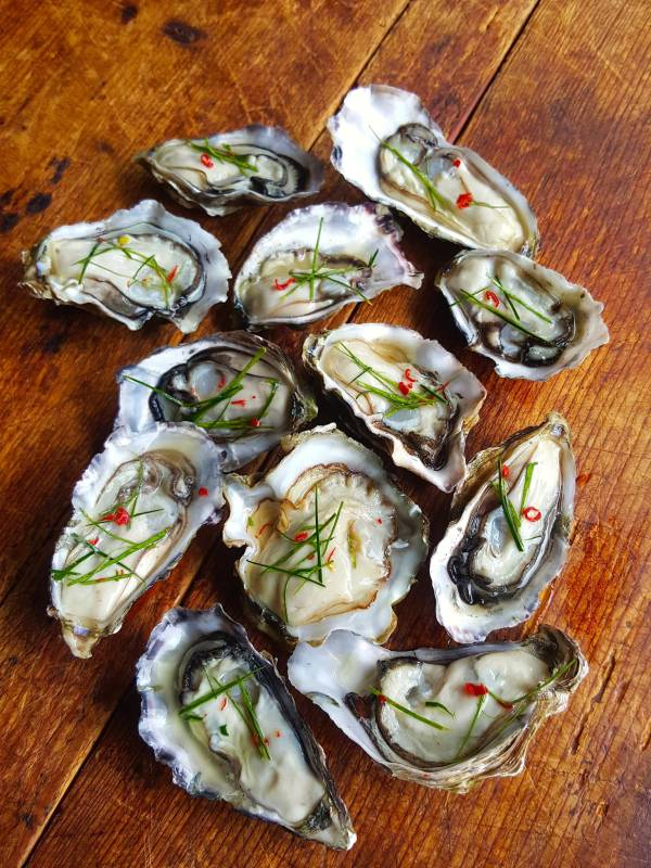 Oysters with kaffir lime leaves