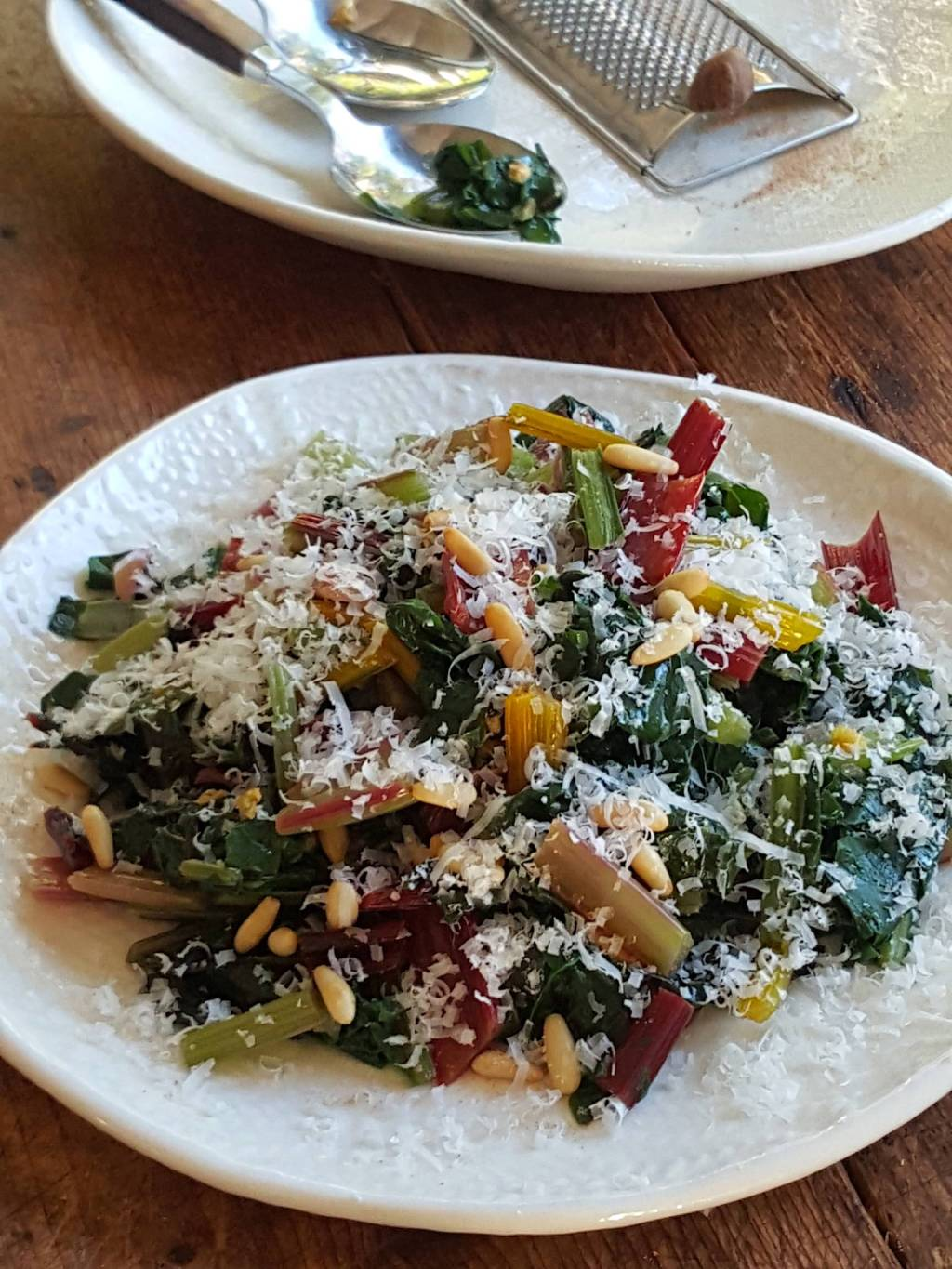 Swiss Chard with Parmesan & Pine Nuts