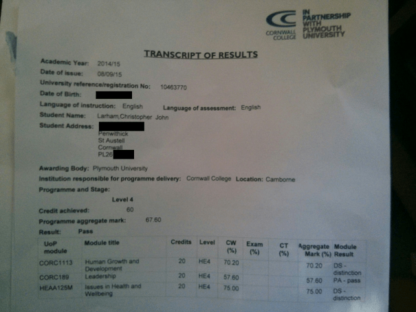 Image of 'Transcript of Results', showing aggregate 'Issues in Health and Wellbeing' module score of 75 %.