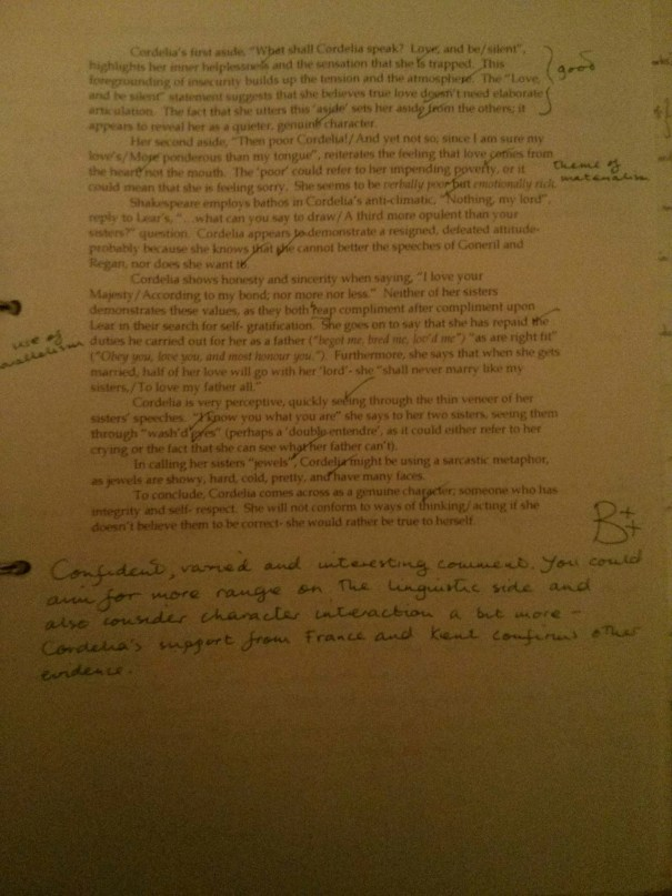 Image of the second feedback sheet critiquing Chris Larham's essay on King Lear (2001/2002, B++).