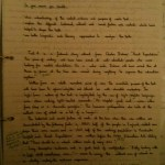 Image of the first marked page of Chris Larham's comparative writing assignment ('B-', 2001/2002).