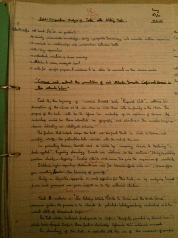 Image of first marked page of Chris Larham's comparative writing assignment (38 out of 50, 2001/2002).