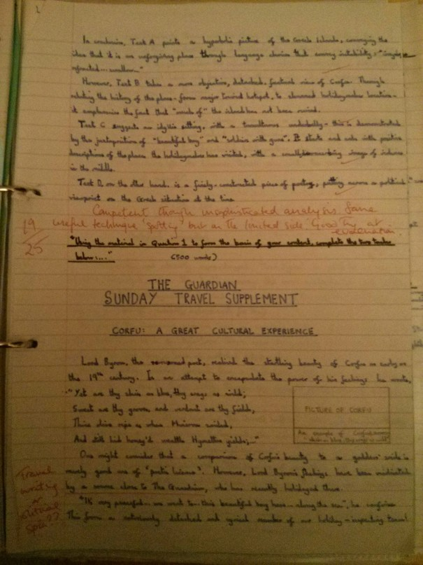 Image of the third marked page of Chris Larham's comparative writing assignment (38 out of 50, 2001/2002).