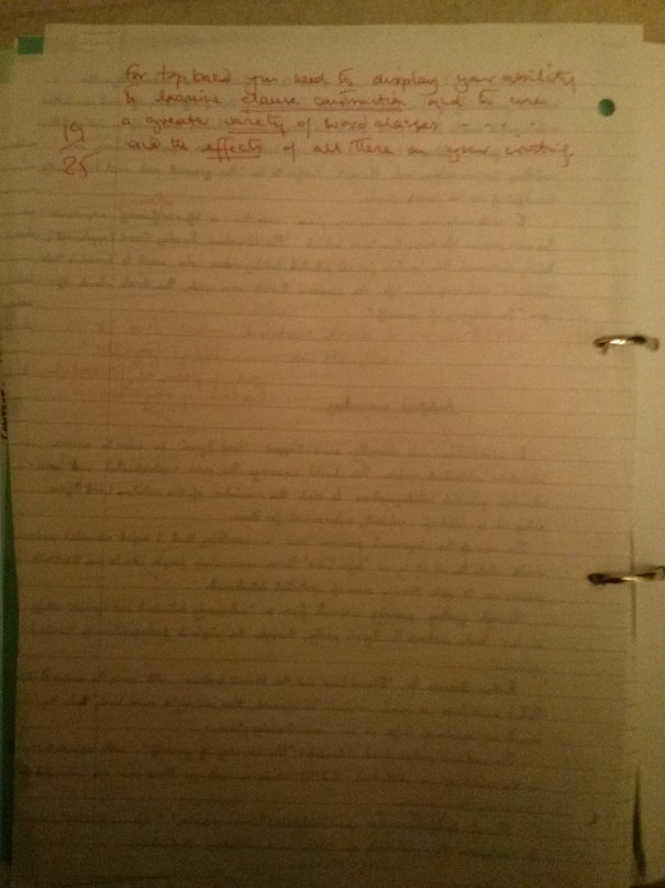 Image of the fifth and final marked page of Chris Larham's comparative writing assignment (38 out of 50, 2001/2002).