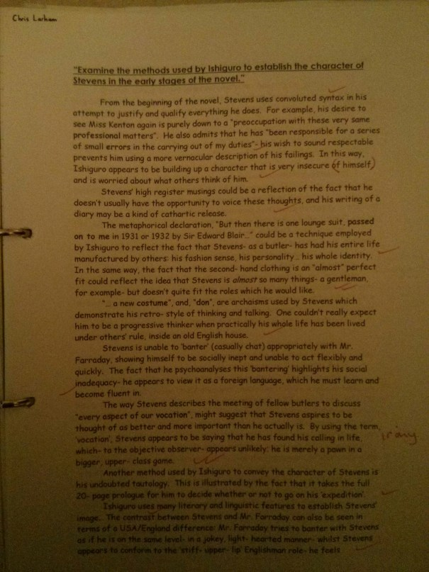 Image of the first marked page of Chris Larham's 'The Remains of the Day' essay ('A' grade, 2001/2002).