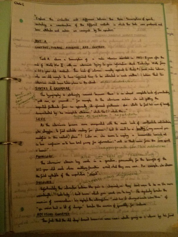 Image of the first marked page of Chris Larham's comparative writing assignment ('B' grading, 2001/2002).