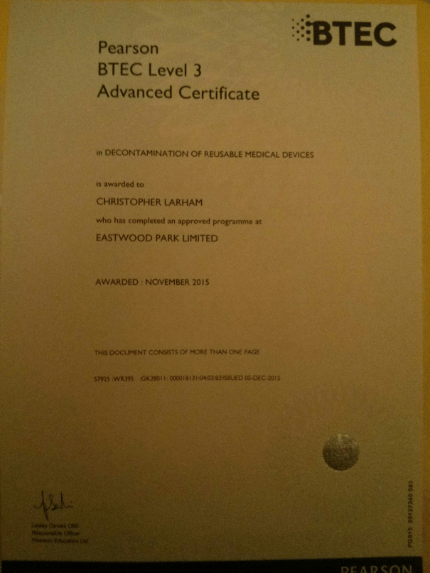 Image of Chris Larham's BTEC Level 3 Certificate in Decontamination
