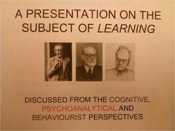 Image of the first slide used in the PowerPoint Presentation given by Chris Larham as part of the 'Psychological Perspectives of Development' (CORC 112) module in 2013.