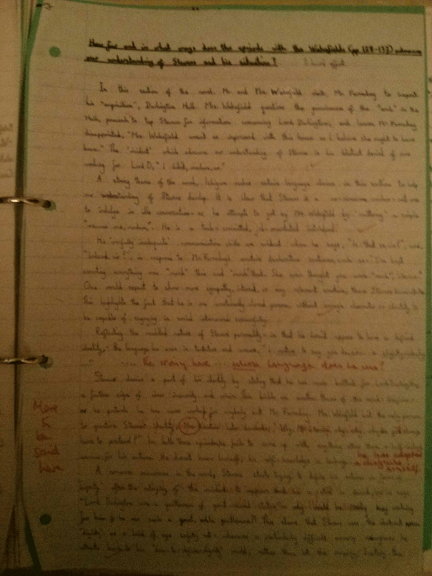 Image of the first marked page of Chris Larham's essay on 'The Remains of the Day' ('B' grading, 2001/2002).