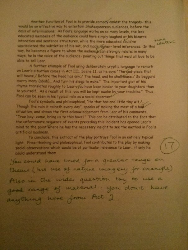 Image of the fourth and final marked page of Chris Larham's essay on King Lear (35 out of 50, 2001/2002).