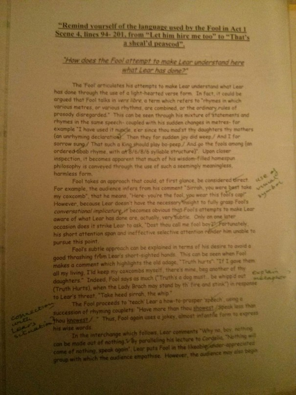 Image of the first marked page of Chris Larham's essay on King Lear (35 out of 50, 2001/2002).