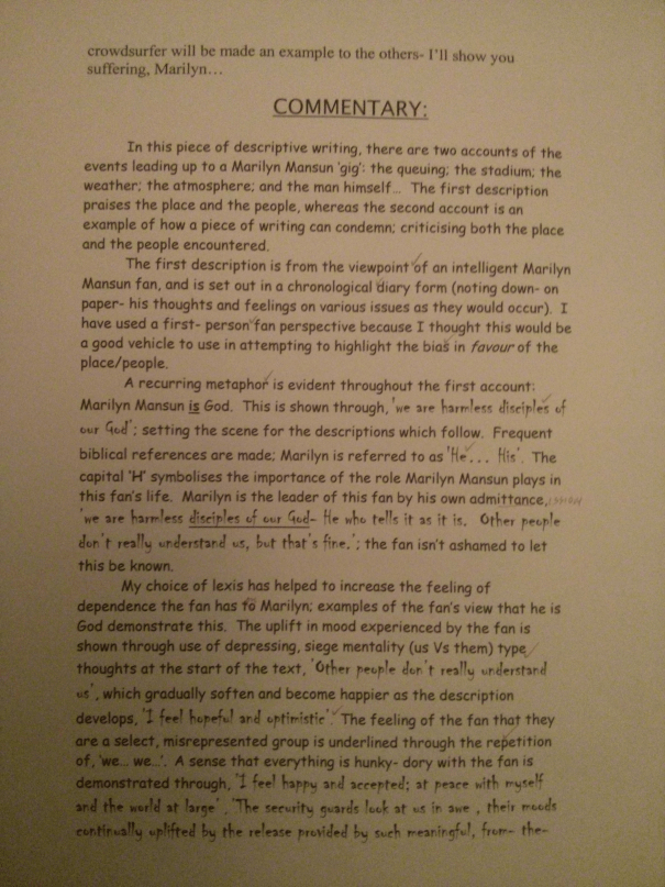 An image of the fourth marked page of Chris Larham's descriptive writing essay and commentary ['A*'-grading, 2000/2001].
